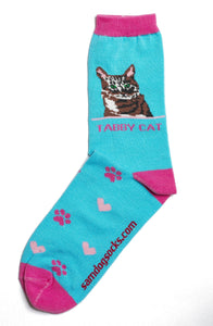 Tabby Brown Cat Socks - samnoveltysocks.com