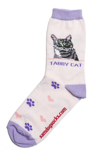 Tabby Grey Cat Socks - samnoveltysocks.com
