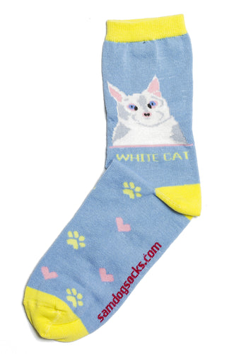 White Cat Socks - samnoveltysocks.com