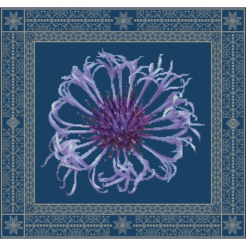 Centaurea in Spring created in counted cross stitch and blackwork from DoodleCraft Design
