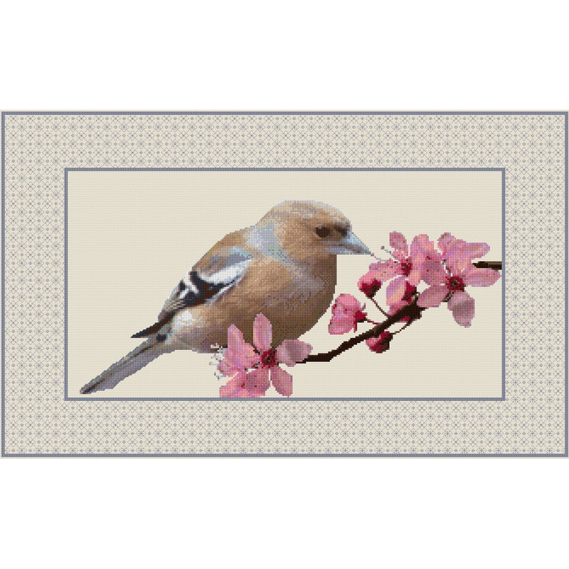 Chaffinch and Cherry Blossom kit created in counted cross stitch and blackwork from DoodleCraft Design