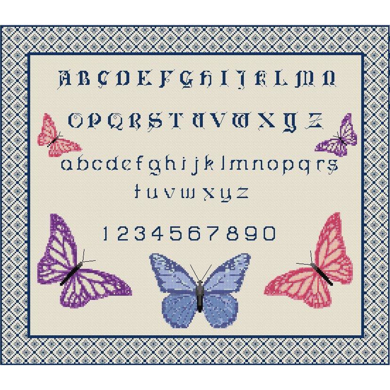 Cross stitch and Blackwork Butterfly Sampler