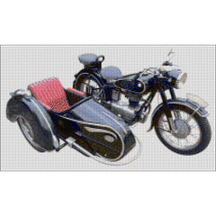 Motorbike & Sidecar counted cross stitch kit from DoodleCraft Design- Chart Only