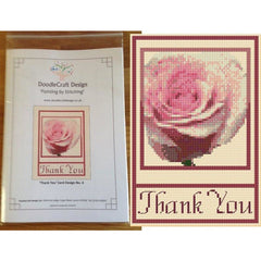 Counted Cross stitch Thank You Card with Daisy kit from DoodleCraft Design