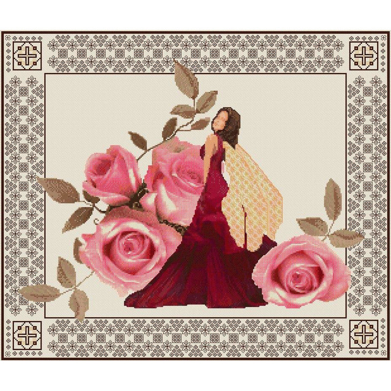Rose Fairy counted cross stitch and blackwork kit from DoodleCraft Design
