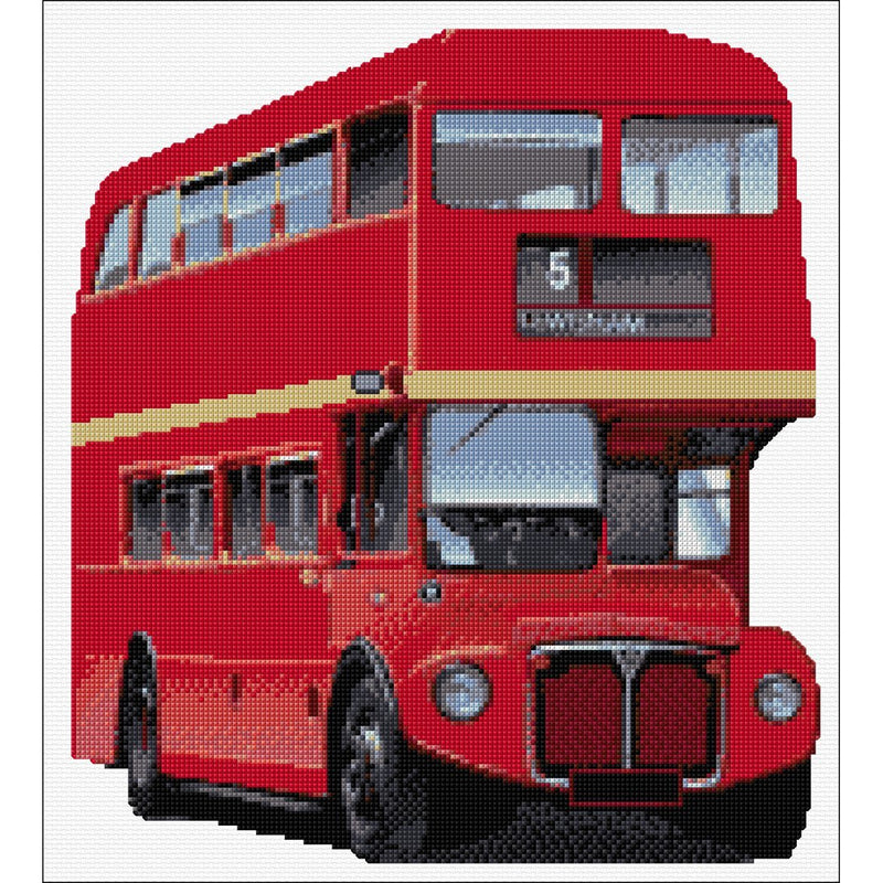 Counted Cross stitch kit of Red Double Decker Bus from DoodleCraft Design