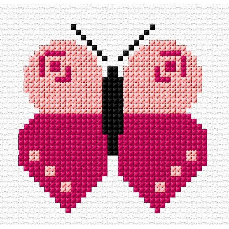 Butterfly Design in counted cross stitch for Kids and Beginners from DoodleCraft Design