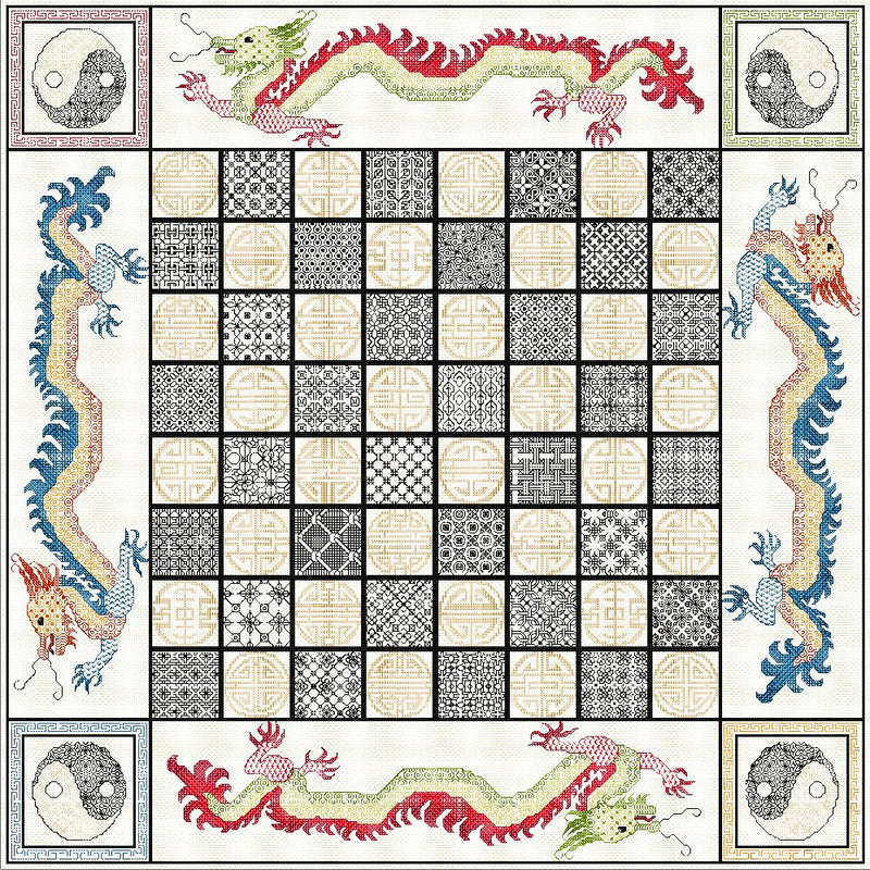 'Stitch-your-own' Chess Board with Oriental Dragons