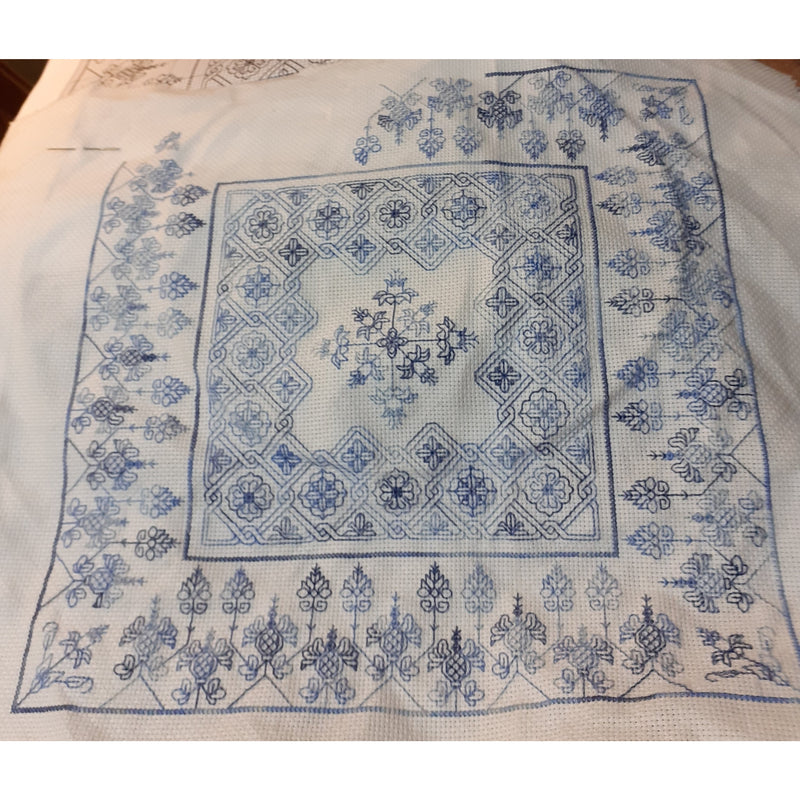 Blackwork Embroidery in Blue
