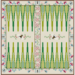 Quilt-your-own botanic backgammon games board from DoodleCraft Design