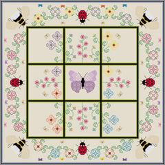 Quilt-your-own Three-in-a-row Bees and Ladybirds games board from DoodleCraft Design