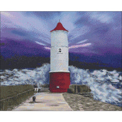 Counted Cross stitch design of North Berwick Lighthouse. Commision created by DoodleCraft Design