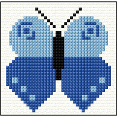 Childs Blue butterfly cross stitch starter kit from Doodlecraft Design