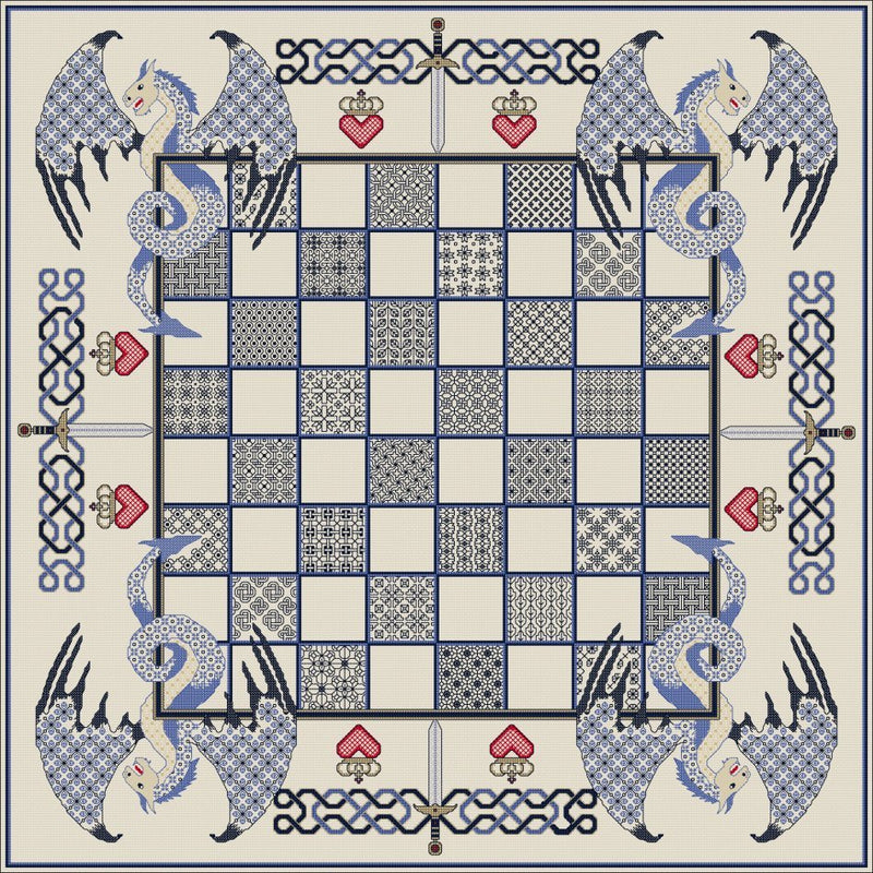 Cross stitch and blackwork embroidery Chess board with a blue Dragon theme from DoodleCraft Design