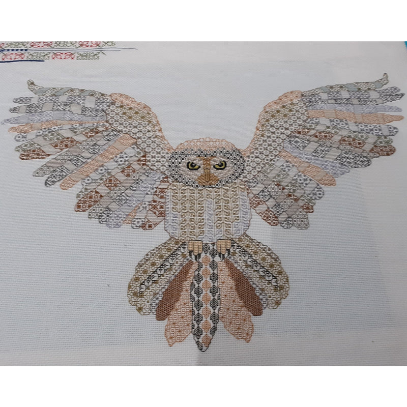 Blackwork owl in flight stitched in natural colours from DoodleCraft Design