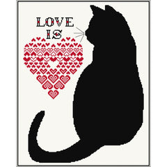 Cross stitch design of Black Cat. Love is.....Cats