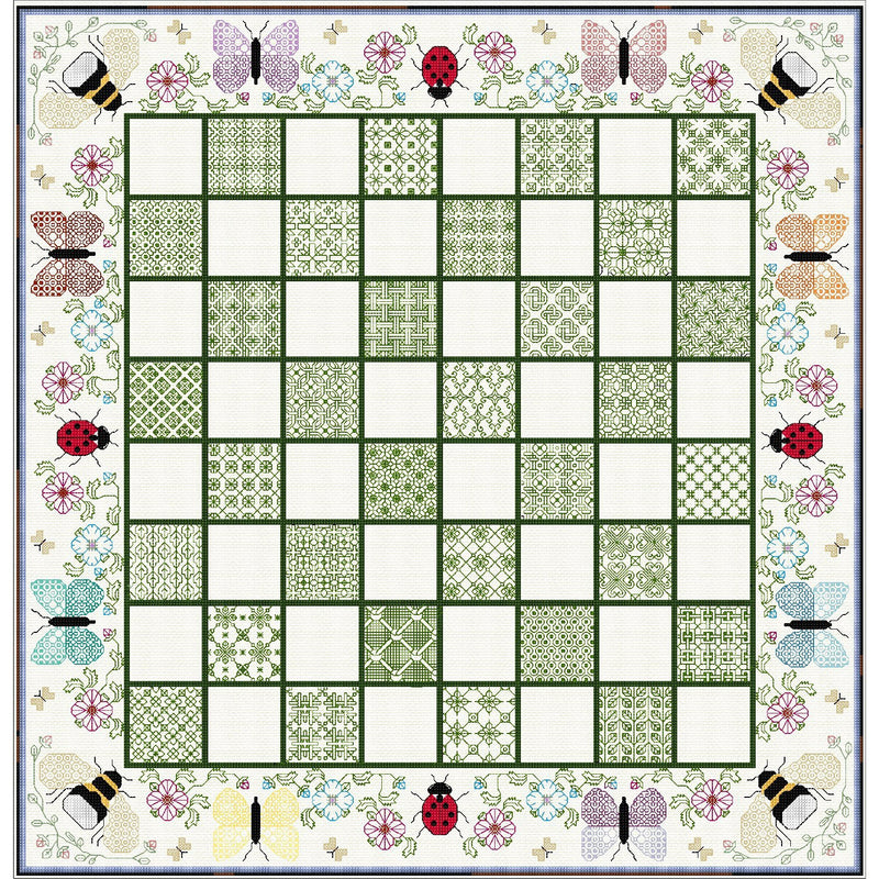 Stitched Botanic themed Chess Board from DoodleCraft Design