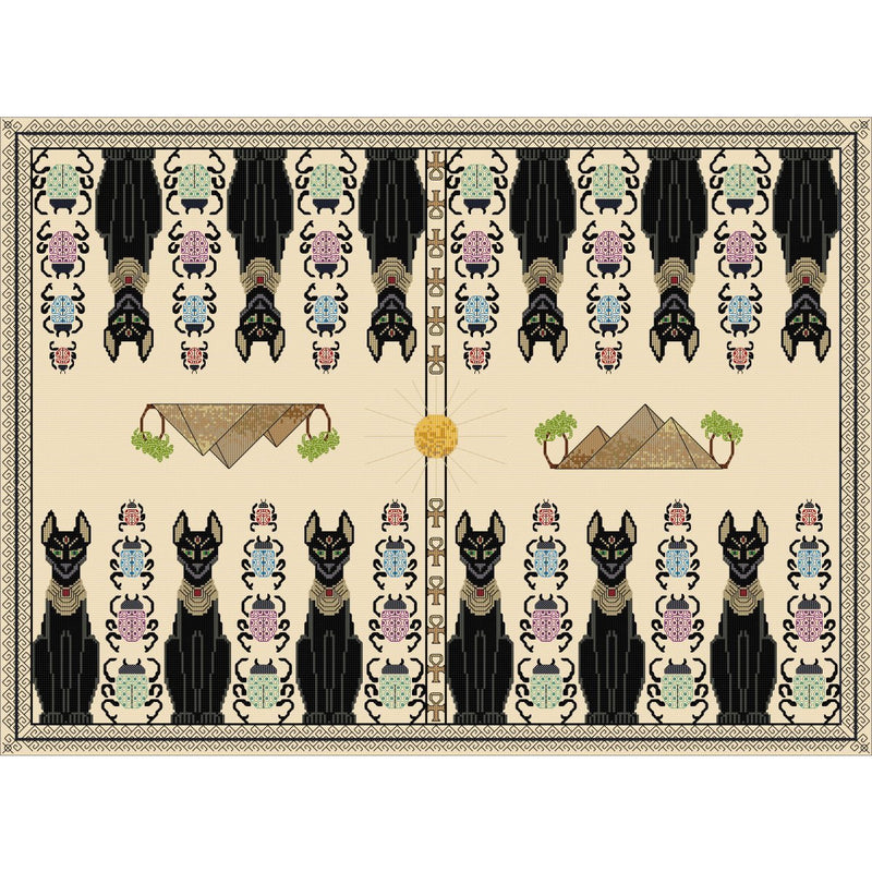Backgammon Board - Egyptian Design created in cross stitch and blackwork from DoodleCraft Design