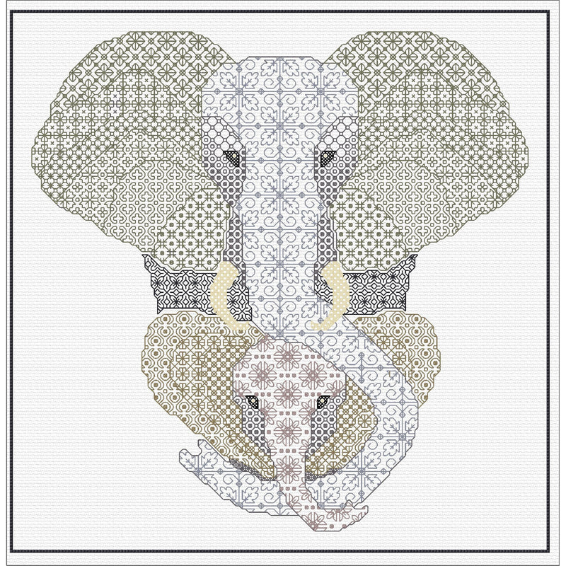 Blackwork Elephant & Calf