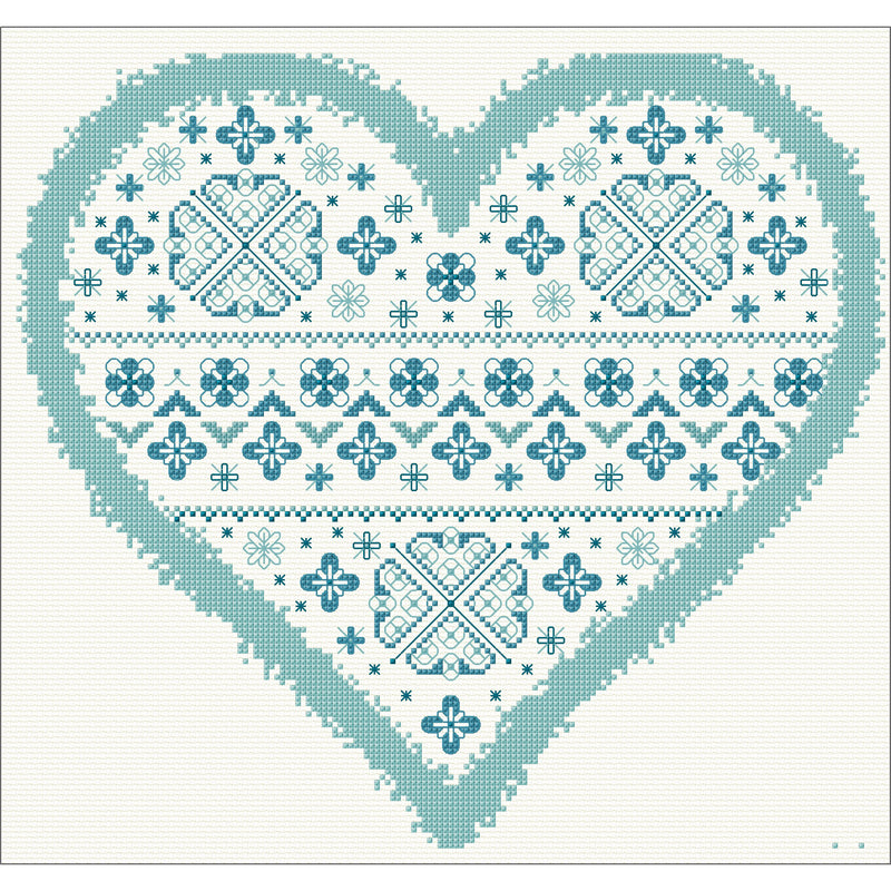 Heart Cushion stitched in cross stitch from DoodleCraft Design
