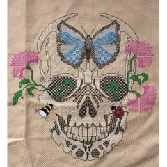Skull with Flowers & Insects