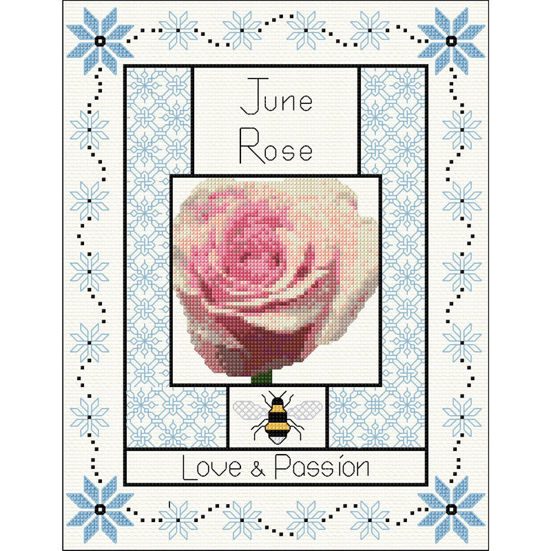 Cross stitch & Blackwork Embroidery - Year in Flowers (Updated design 2020)