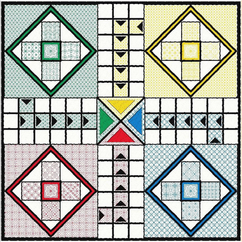 Quilt-your-own Ludo games board from DoodleCraft Design