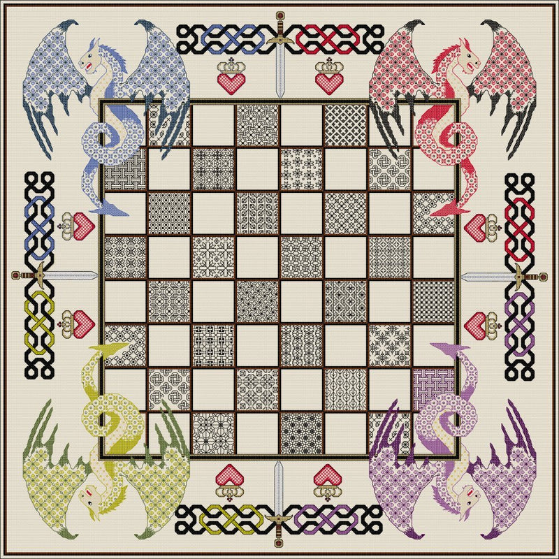 Stitch your own Chessboard with purple Dragons from DoodleCraft Design