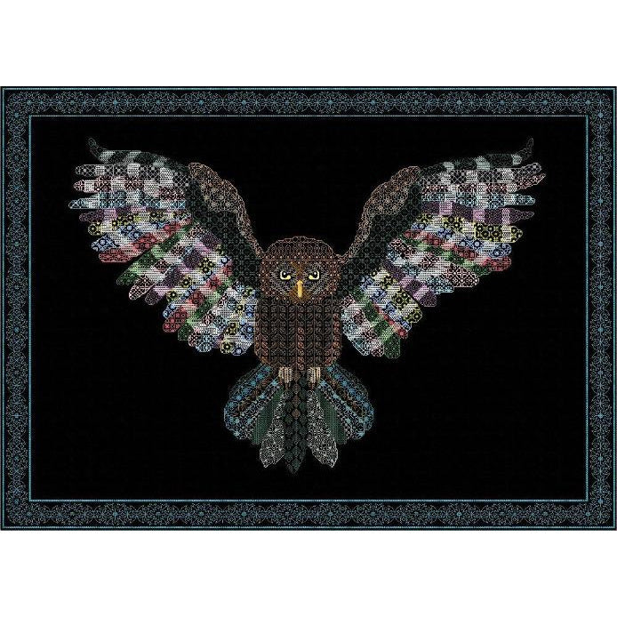 Blackwork owl in flight stitched in rainbow colours from DoodleCraft Design