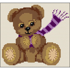 Cross stitch Teddy with pink scarf from DoodleCraft Design
