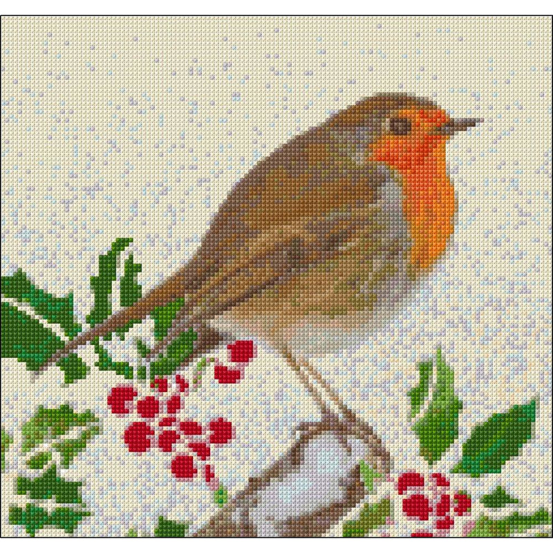 Cross stitch kit for robin in snow from DoodleCraft Design