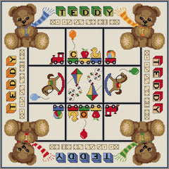 Quilt-your-own Three-in-a-row Teddies and Toys games board from DoodleCraft Design