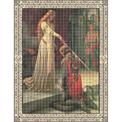 The Accolade by Edmund Blair Leighton created as a cross stitch kit by DoodleCraft Design