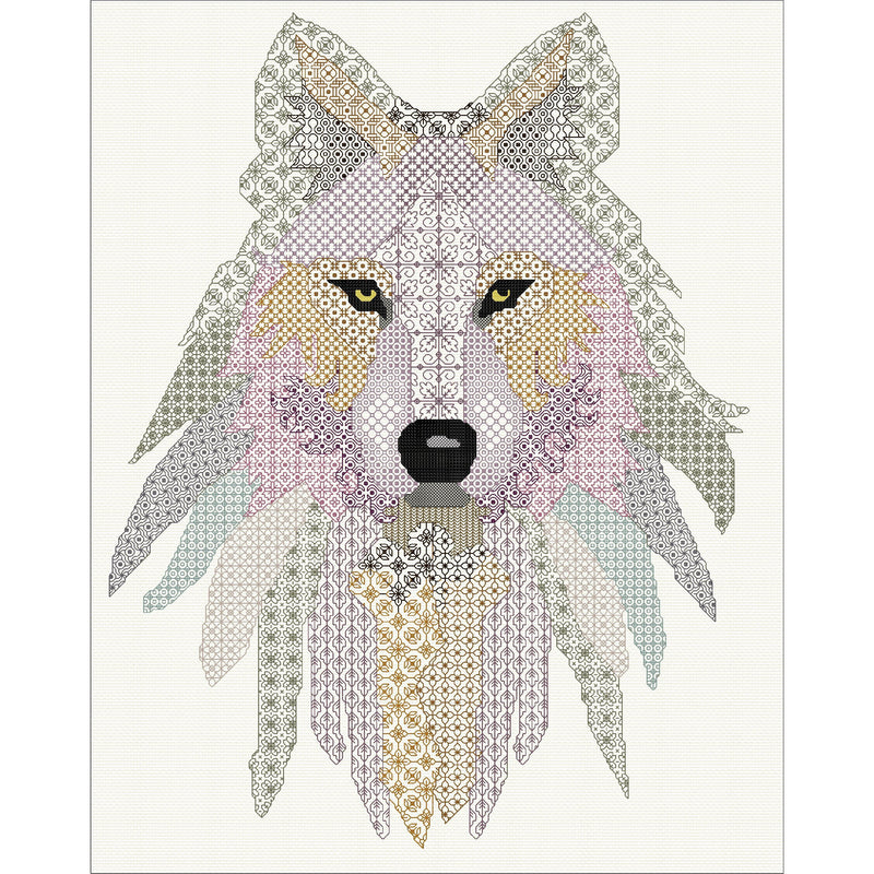 Beautiful wolf stitched in blackwork from DoodleCraft Design
