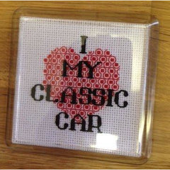 'I Love my ...' stitched Coaster Kit - insert your chosen word. Designed by DoodleCraft Design