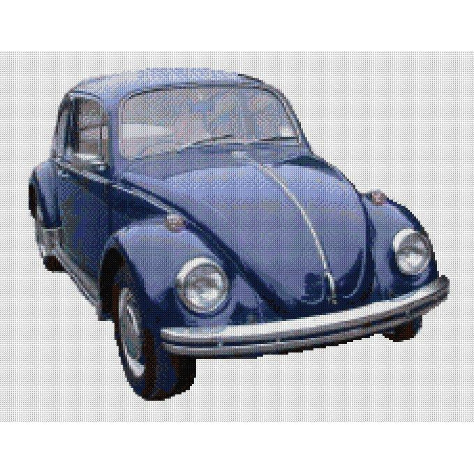 counted cross stitch design of blue VW Beetle from DoodleCraft Design
