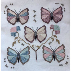 Blackwork embroidery Calico Butterflies in DMC threads from DoodleCraft Design
