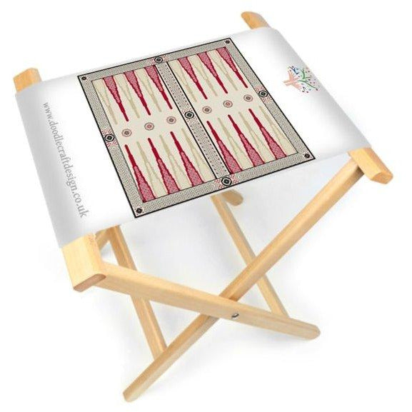 A DoodleCraft Design Celtic Backgammon printed onto canvas and made up into a foldable board and stool