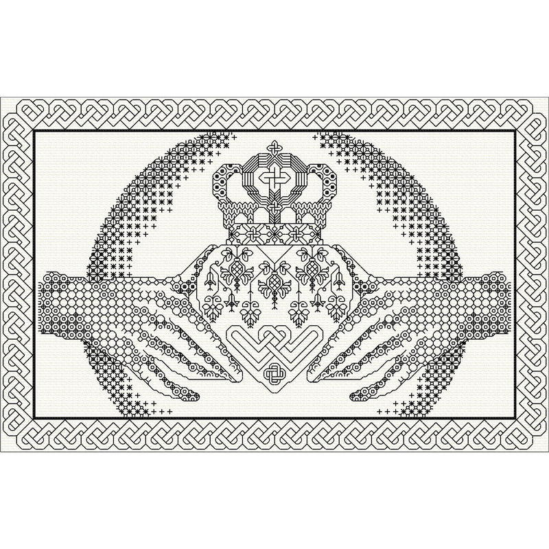 Stitched Irish Claddagh in traditional blackwork from DoodleCraft Design