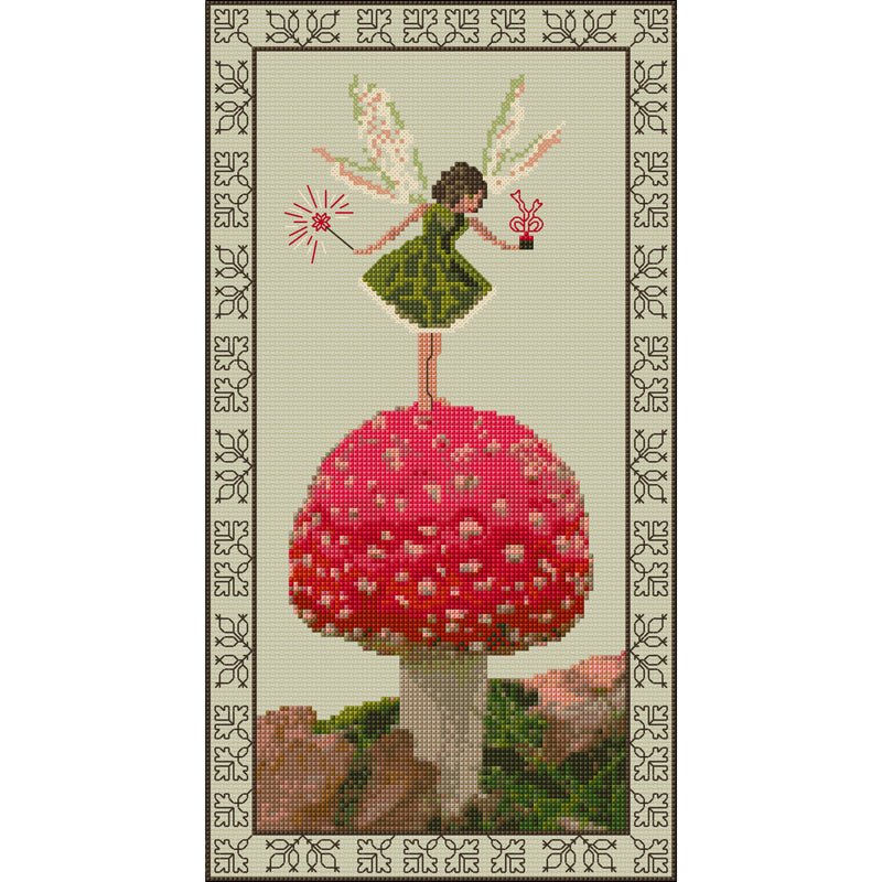Cross stitch Toadstool Fairy