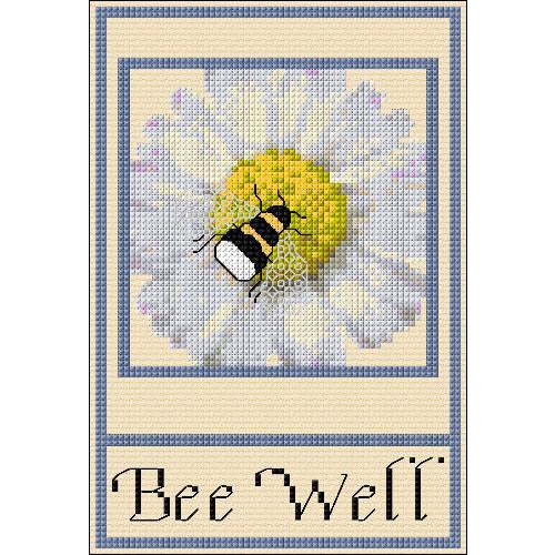 A cross stitch design of Bee's and Daisies with a Bee Well message. Designed by DoodleCraft Design