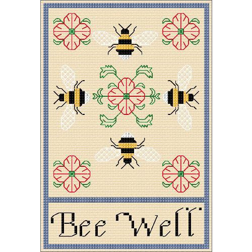 A cross stitch and Blackwork design of Bee's and Roses with a Bee Well message