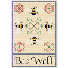 A cross stitch and Blackwork design of Bee's and Roses with a Bee Well message. Designed by DoodleCraft Design
