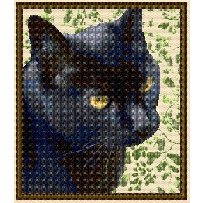 Example of Bespoke Design - Billy the black cat. Created in counted cross stitch from DoodleCraft Design