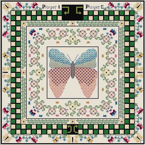 Cribbage Style Games Board kit - Butterfly Design in counted cross stitch and blackwork from DoodleCraft Design