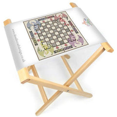 The DoodleCraft Design Dragon Backgammon games board printed onto canvas and made into a foldable board aqnd stool