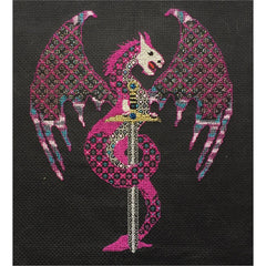Dragon counted cross stitch and blackwork kit from DoodleCraft Design