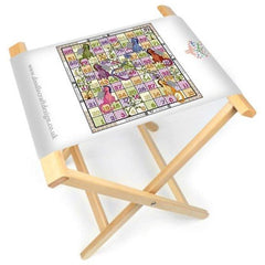 The DoodleCraft Design Dragons and Beanstalks games board printed onto canvas and made into a foldable board and stool