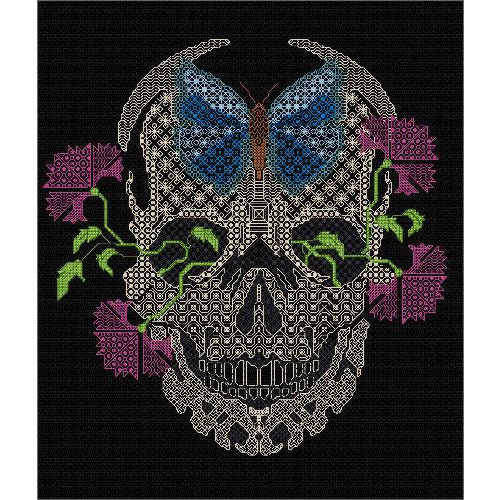 Skull with Flowers stitched in Blackwork on Black Fabric
