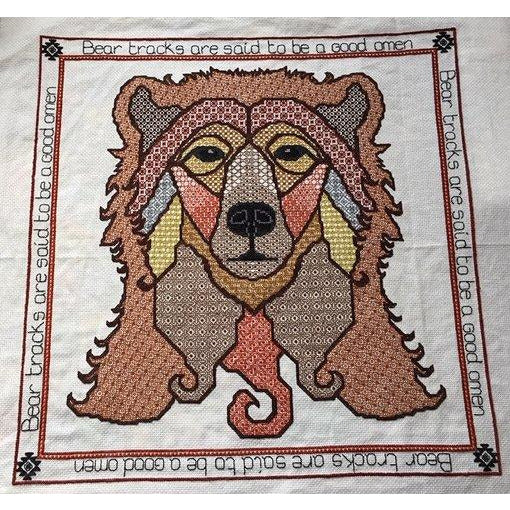 Cross stitch and blackwork embroidery bear in DMC threads from DoodleCraft Design